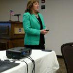 Debbie Scroggins, gives a presentation  about cyber crime.